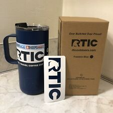 RTIC 14 Oz Stainless Steel Travel Coffee Cup, Vacuum Insulated, Freedom Blue New