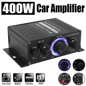 12V 400W Power Car Amplifier HiFi Stereo Home Audio Digital Aluminum Alloy AMP