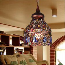 Tiffany Mediterranean Style Flower Pattern Ceiling Lamp Stained Glass Chandelier