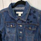Catherine Malandrino Blue Denim Jean Jacket w/ Blue Stars Patriotic Size Small