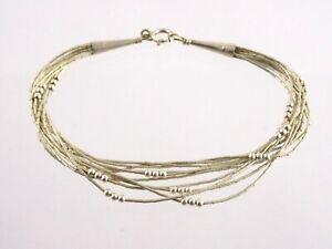 Southwestern Sterling Silver 10 Strand Liquid Silver Bracelet w Beads 925 7.5 In