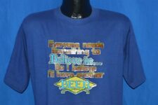 vtg 80s I BELIEVE I'LL HAVE ANOTHER BEER BLUE GLITTER IRON ON t-shirt LARGE L