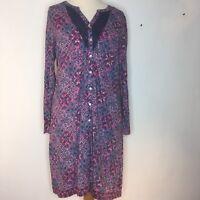PER UNA Dress Size 16 Purple Pink Blue Long Sleeve Knee Length Cotton