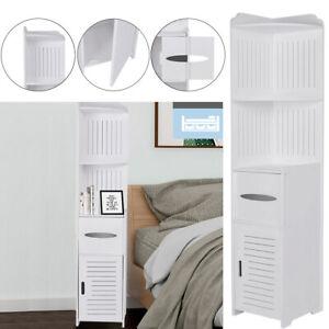 Bathroom Corner Cabinet Slim Rack White Tissue Box Storage Cabinet Tall Cupboard