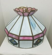 Tiffany Style Vintage Hanging Ceiling Lamp Light Stained Glass Pink