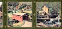 Country Autumn Scene Antique Water mills Covered Bridge Fishing Wallpaper Border