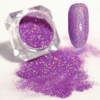 Nail Art Glitter Powder Dust Holographic Holo Light Purple Laser Chrome Tips DIY