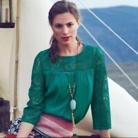 ANTHROPOLOGIE Moulinette Soeurs Lace Cloaked Blouse Top teal green crepe 6 M 3B