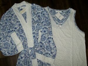 NWT Carole Hochman White/Blue PAISLEY~DOTS Robe & Sleeveless Nightgown SET S