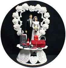 Car AUTO MECHANIC Wedding Cake Topper Bride & Groom lift Tool chest Funny tools