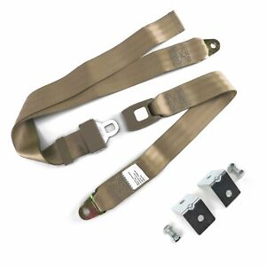 2pt Tan Standard Buckle Lap Seat Belt with Mounting Hardware