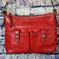 Dooney & Bourke Red Florentine Pebbled Leather Crossbody Shoulder Bag