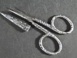 Antq Fancy Campbell Metcalf Sterling Silver Embroidery Sewing SCISSORS & Sheath