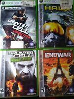 Xbox 360 Tom Clancy Lot - Splinter Cell Double Agent Conviction End War Hawx CIB