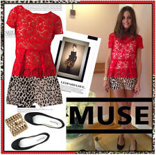 Olivia Palermo x Zara Red Lace Guipure Peplum Top Small
