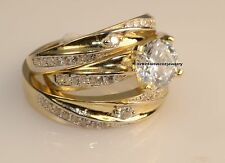 Men & Ladies Yellow Gold Fn Trio Set Wedding And Engagement Rings Bridal Set