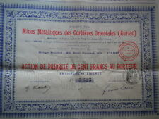 11 - AURIAC - MINES METALLIQUES des CORBIERES ORIENTALES