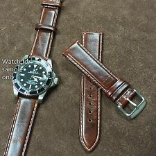 Size 20/22mm Oily Brown Leather Vintage Style Padded Watch Strap/Band s13