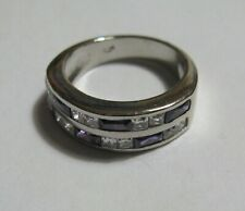 Zirconia Channel Set Ring Size L Sterling Silver Amethyst + Clear Cubic