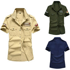 Army New Men's Cotton Casual Air Force Slim Short Sleeves Shirts XS-XXL MD119