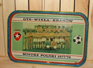 Vintage Poland FC Wisla Krakow litho tin serving tray