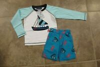 Sophie & Sam Baby Boys 2 Piece Outfit Size 12 18 Months Sailboat Sea Creatures