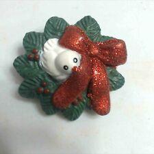 Vintage Fun World Bird Wreath Christmas Brooch