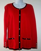 Talbots Cardigan Sweater 1X Red~Navy Trim~Cotton Cashmere Blend~Pearl Buttons~