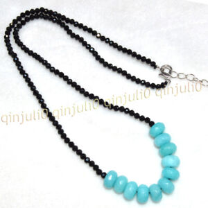 Faceted 3mm Black Spinel 5x8mm Blue Amazon Rondelle Gemstone Beads Necklace 18''