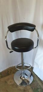 Faux Leather Black Swivel and Chrome Breakfast Bar Stool
