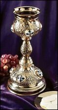 Ornate Cross Chalice with Paten - Brass, Gold Toned - Free Shipping