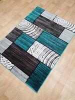 Silver Teal Modern Short Pile Greek Style Rugs Carpet Mat Small Large Rug 2019