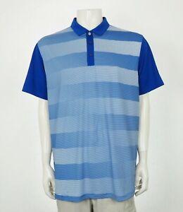 Puma Golf DryCell Atomic Blue Striped Tech Golf Polo Shirt Mens XL