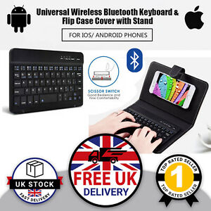 Wireless Bluetooth Keyboard Stand & Case For Phone Tablet Android iPhone UK