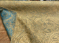 Richloom Gold Aqua Teal Paisley Kempton Chenille Upholstery Fabric By the Yard