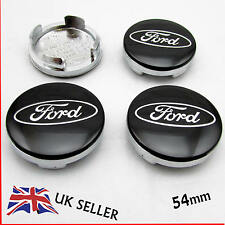 4x FORD ALLOY WHEEL CENTRE CAPS 54mm BLACK MONDEO FOCUS FIESTA CMAX KUGA SMAX X4