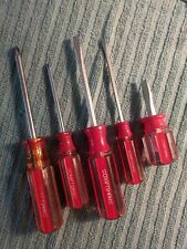 """CRAFTSMAN  """"VINTAGE""""  RED / CLEAR  5 PC. SCREWDRIVER SET, MADE IN  THE  U.S.A."""