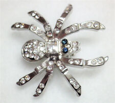 Clear crystal and silver tone spider brooch lapel pin Approx.3 x 2.75cm