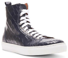 DONALD J PLINER Crocodile-Embossed Leather Hi-Top Sneaker 8 US Made in ITALY