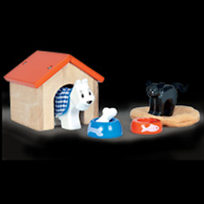 Conjunto de perros y gatos PET con Perrera De Madera Set para Niños Casa de Muñecas Le Toy Van
