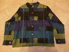 C.L.O.T.H.E.S. Multi-color PATCHWORK Button Front Jacket Style Shirt LARGE