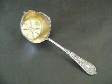 Antique French Sterling Silver Gold Vermeil Tea Strainer Floral Art Nouveau 19 C