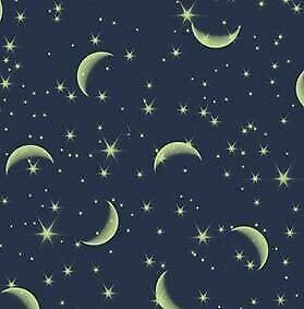 Baumwolle Stoff Mond und Sterne, Nachthimmel, Meterware, Deko Stoffe Patchwork