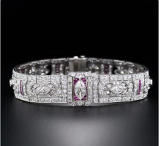 Exquisite and Exemplary Vintage Style Red Calibre Rubies & Sparkling CZ Bracelet
