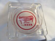 Vtg Great Falls Select Beer Square Glass Ashtray