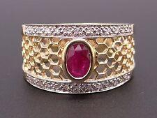 18k Yellow Gold .76ct Oval Cut Ruby Diamond Wedding Band Cluster Ring Sz 9.25