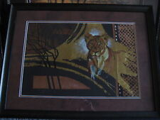 "Original Artwork African Animal ""Lion"" By Lucy Doran With Wooden Frame & Signed"
