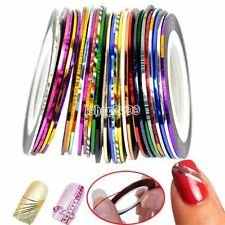 LOT 16 Rouleaux Striping Deco Ongle FIL BANDES STICKER NAIL ART AUTOCOLLANT