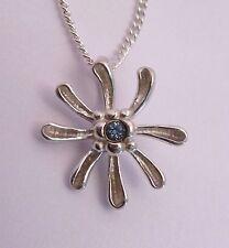 Scottish Ola Gorie Silver Honeysuckle Blue Topaz Pendant Chain