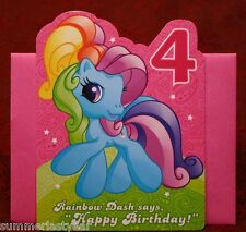 **MY LITTLE PONY**FOUR YEAR OLD- BIRTHDAY CARD**FAMILY IS MAGIC**FREE SHIPPING**